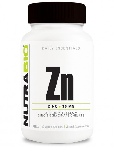 Zinc Chelated (30 mg) 120 Vege Caps NutraBIO - 1